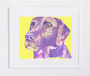 Labrador painting print Violet and Lemon Yellow lab dog gift labrador dog painting art print - Dog portraits by Oscar Jetson