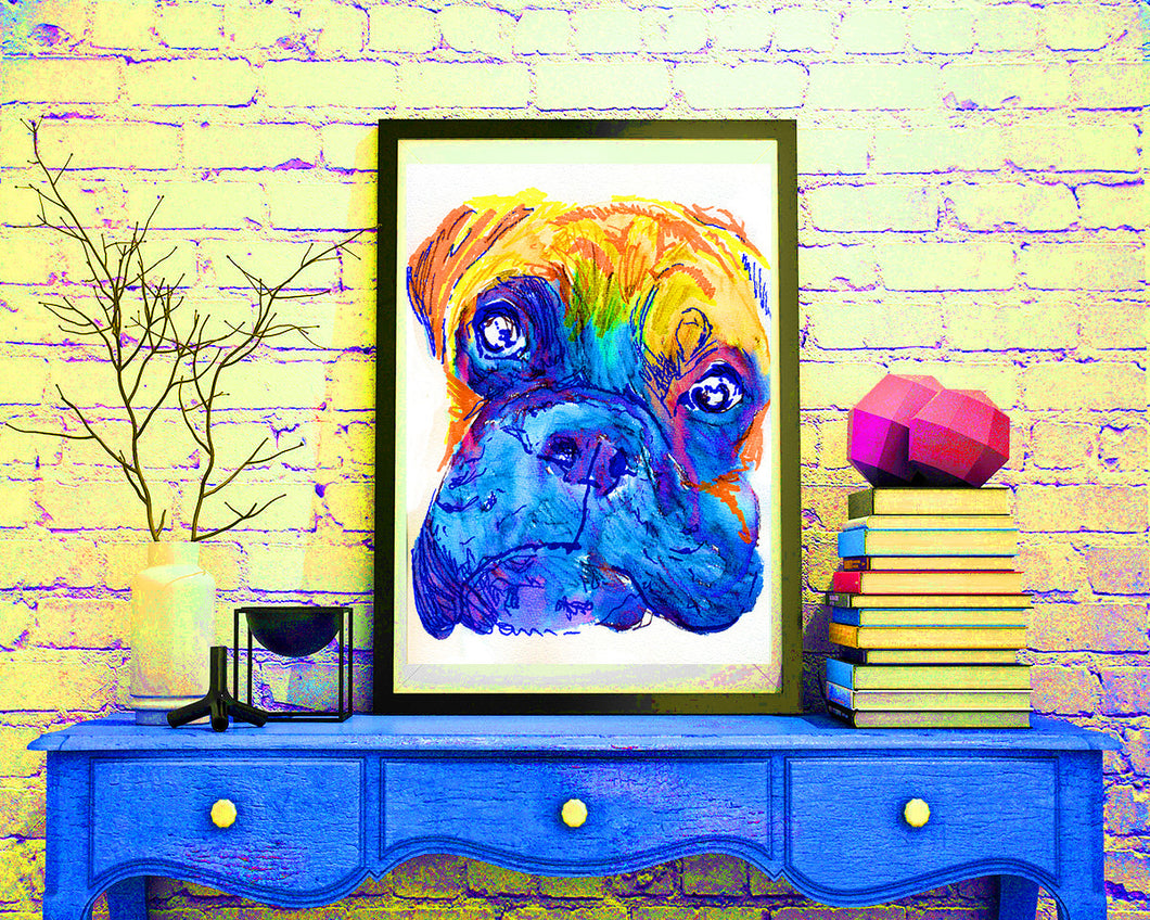 Boxer Dog colorful painting portrait Orange blue home decor boxer dog art print - Dog portraits by Oscar Jetson