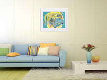 Load image into Gallery viewer, Pug painting wall art print yellow and aquamarine pug print - Dog portraits by Oscar Jetson