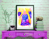 French bulldog art print Yellow Pink watercolor painting frenchie art print - Dog portraits by Oscar Jetson