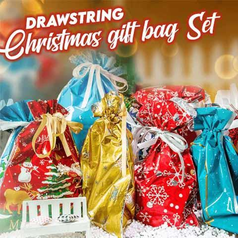 Drawstring Christmas Gift Bag Set