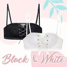 Load image into Gallery viewer, Strapless Lace Drawstring Bandeau outdoorpinata 70B Black + White