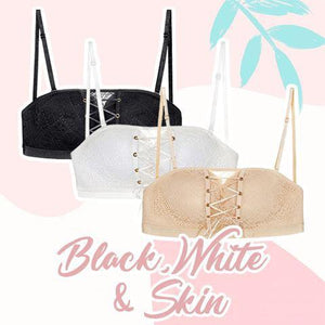 Strapless Lace Drawstring Bandeau outdoorpinata 70B Black + White + Skin