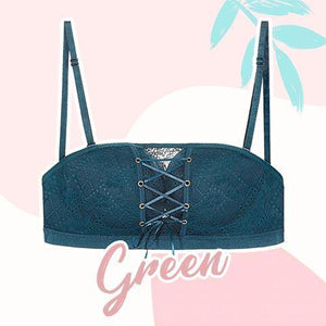 Strapless Lace Drawstring Bandeau outdoorpinata 70B Green