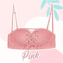 Load image into Gallery viewer, Strapless Lace Drawstring Bandeau outdoorpinata 70B Pink