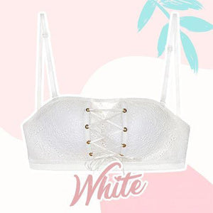Strapless Lace Drawstring Bandeau outdoorpinata 70B White