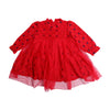 Girls Embroidered Frock - Red