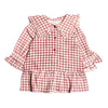 Girls Small Check Frock - Brown