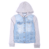 Women's Denim Hoodie Zipper - Blue