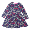 Girls Printed Frock - Navy Blue