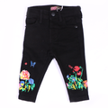 Girls Printed Denim Pant - Black