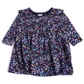 Girls Floral Printed Frock - Navy Blue