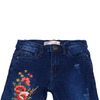 Girls Printed Denim Pant - Dark Blue