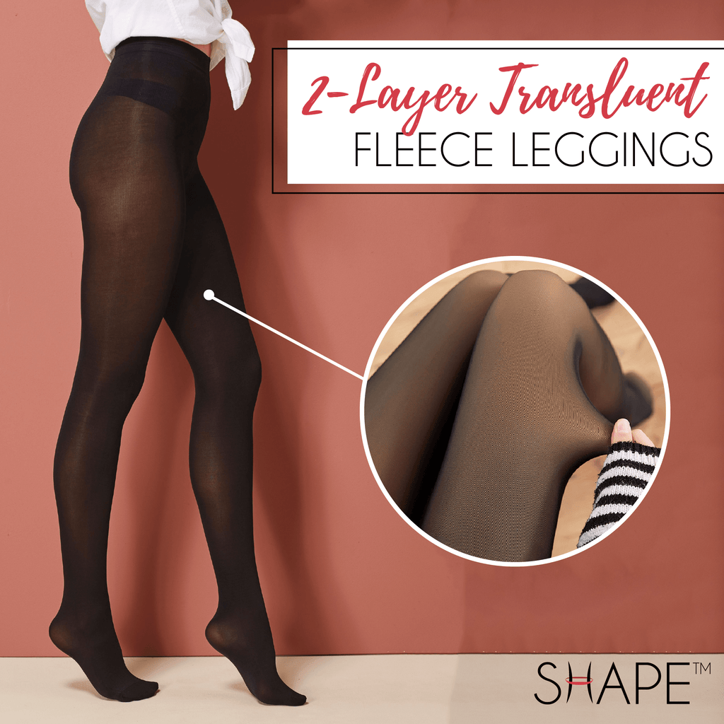 Duo Layer Translucent Fleece Leggings Beauty ChestnutFive Black Pantyhose Warm