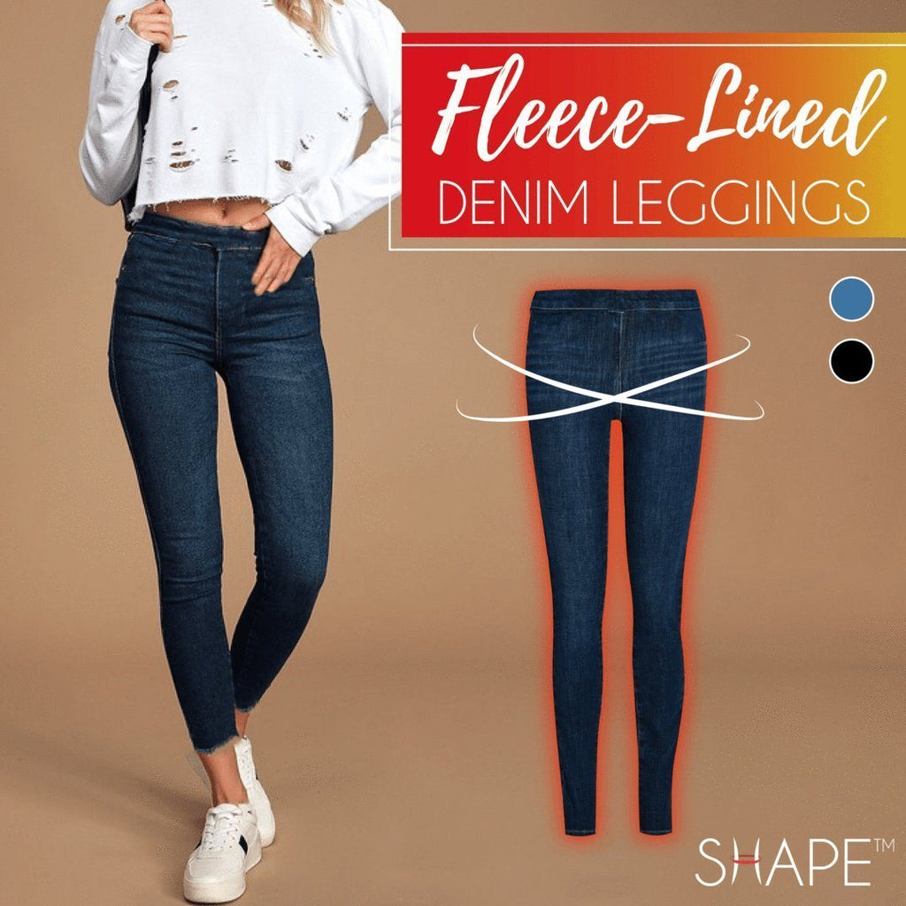 Fleece-Lined Denim Leggings Beauty ChestnutFive