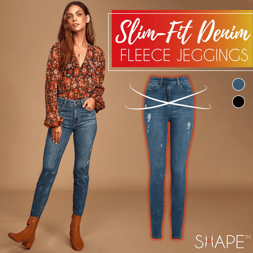 Slim-Fit Denim Fleece Jeggings Beauty ChestnutFive