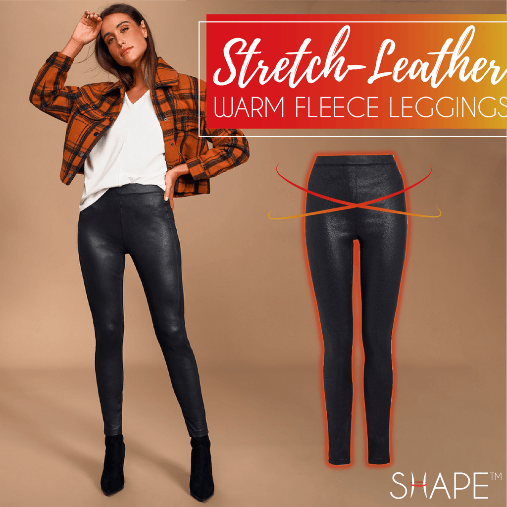 Stretch-Leather Warm Fleece Leggings Beauty ChestnutFive