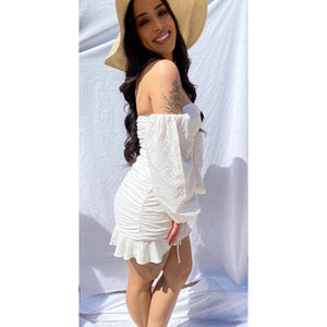 Ruffle White Mini Dress