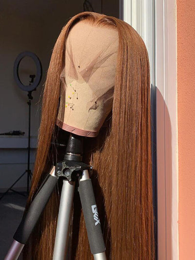 Doubleleafwig 360 Lace Wig Golden Brown Straight Virgin Hair D49