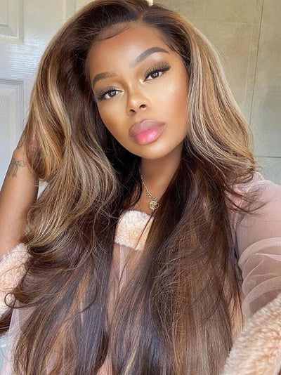 Doubleleafwig Highlights Dream HD Lace Front Wig Ombre Brown Hair DB310