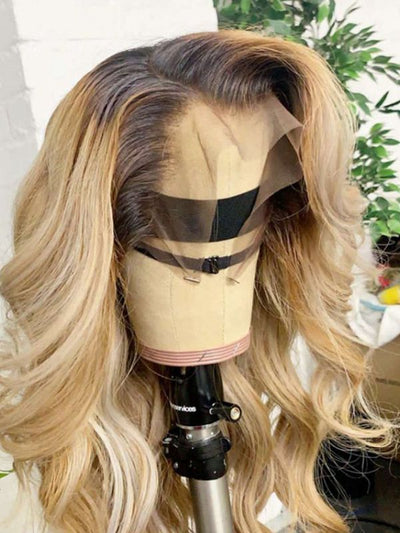 Doubleleafwig Ombre Blonde 613 Hair Natural Wave Lace Front Wig DB169