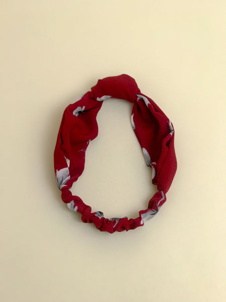 Knotted Floral Red Headband
