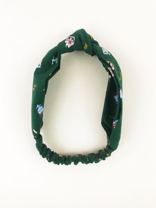 Lelise Knotted Headband in Hunter Green