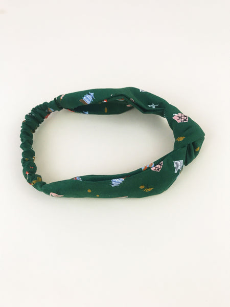 Knotted Wanderlust Headband in Hunter Green