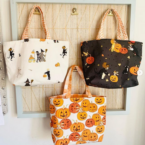 3 halloween bags in belle and boo fabric
