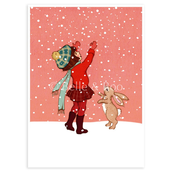 Catching Snow, Postcard