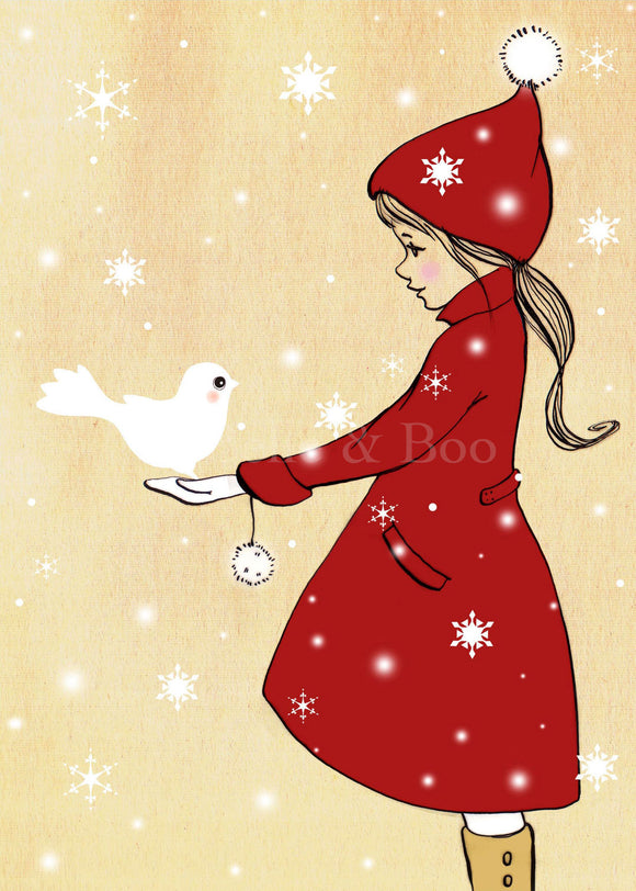 Elle & The Snowdove (Mini Print)