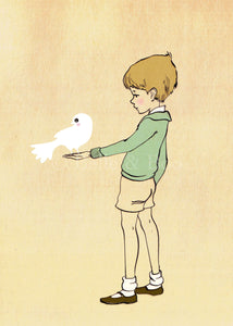 Boy With Dove - Mounted Print