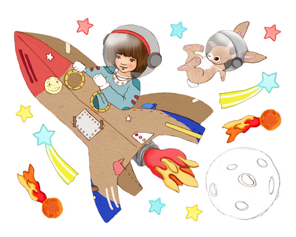 Space Rocket Wall Sticker Decals