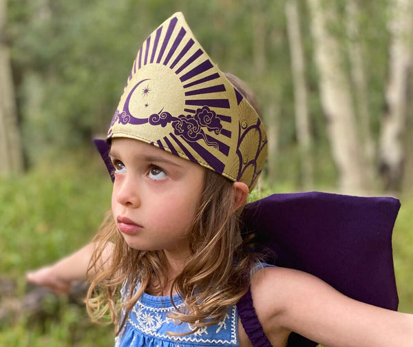 Celestial Crown for Fairy, Princess, Queen Costume - Gold and Purple