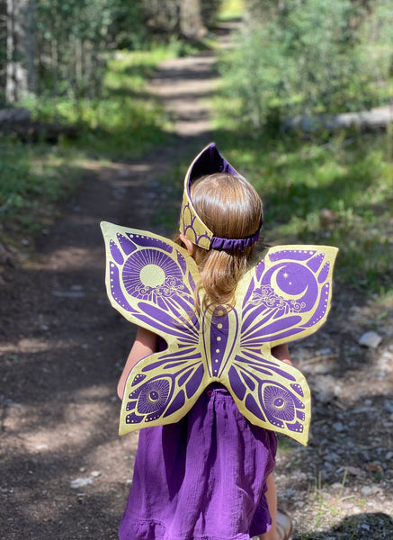 Celestial Fairy Wings, Crown and Wooden Star Wand Set- Purple