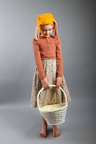Organic Bunny Bonnet and Tail, Bunny Costume, Ochre