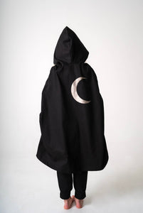 Hooded Cape with Silver Moon for Kids, Warrior, Knight, King, Elf, Wizard Costume - Black and Silver