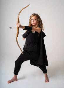 Tunic or Vest for Kids Warrior, Knight Costume - Black and Silver