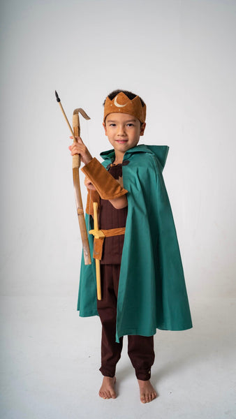 Hooded Cape with Gold Moon for Kids, Warrior, Knight, King, Elf, Wizard Costume - Green and Gold