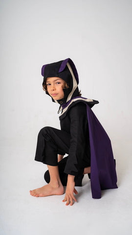 Super Hero Cape for Kids Super Hero Costume - Purple, White and Black