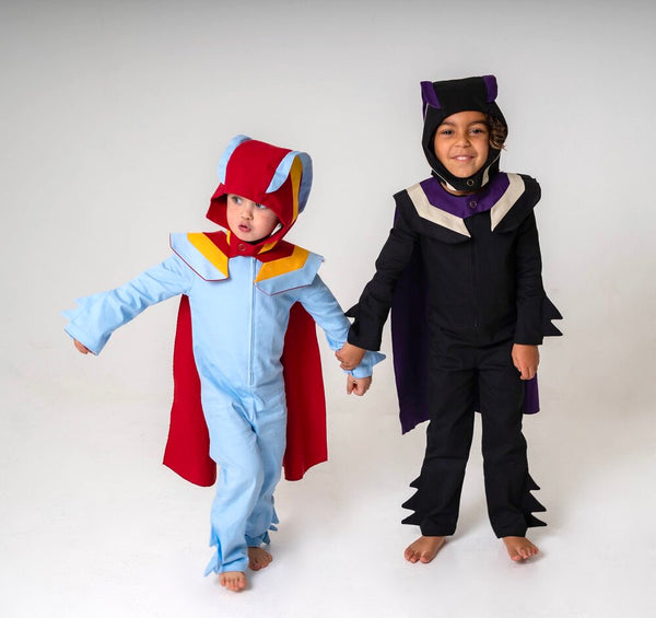 Super Hero Hood for Kids Super Hero Costume - Purple, White and Black