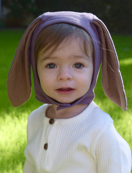 Organic Bunny Bonnet for Rabbit, Bunny Costume, Dusty Violet
