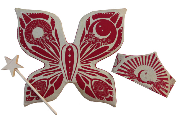 Celestial Fairy Wings, Crown and Wooden Star Wand Set - Red