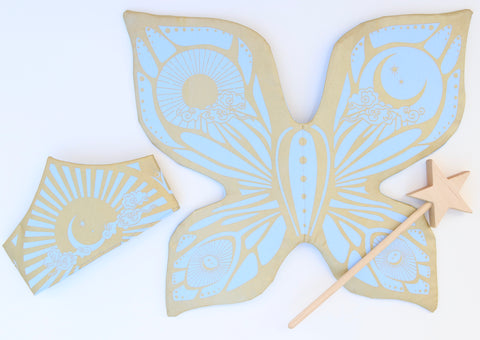 Celestial Fairy Wings - Pale Blue and Gold