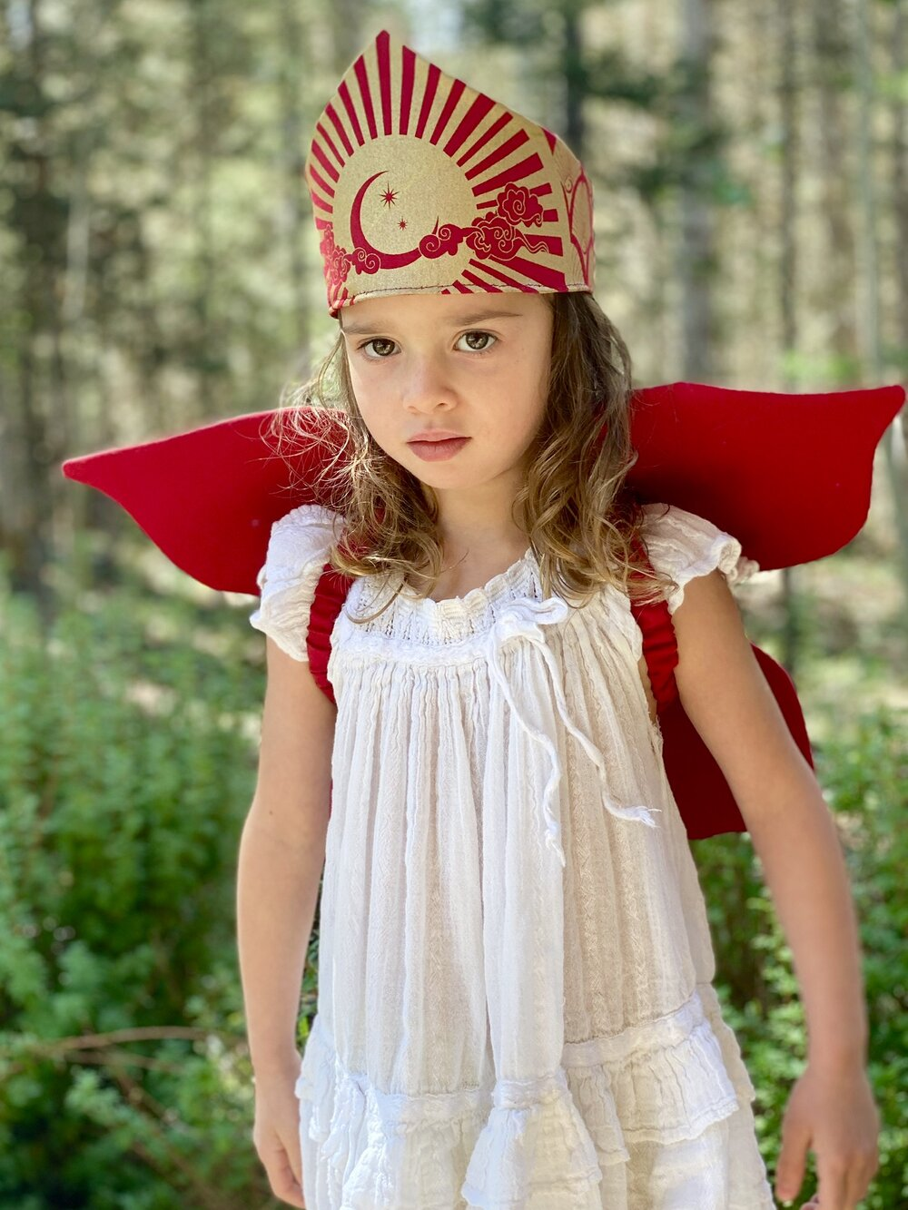 Celestial Crown for Fairy, Princess, Queen, King Costume - Gold and Red