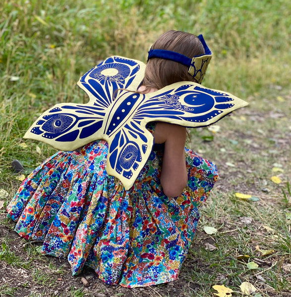 Celestial Fairy Wings, Crown and Wooden Star Wand Set - Navy
