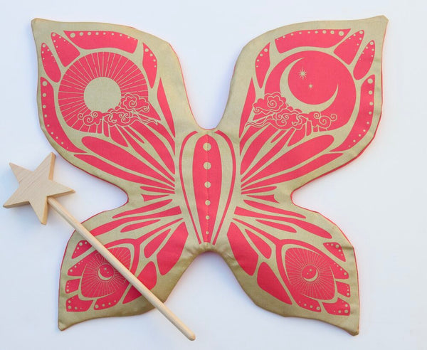 Celestial Fairy Wings - Coral and Gold