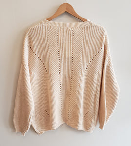 Knit Sweater with Open Weave Detail in Beige