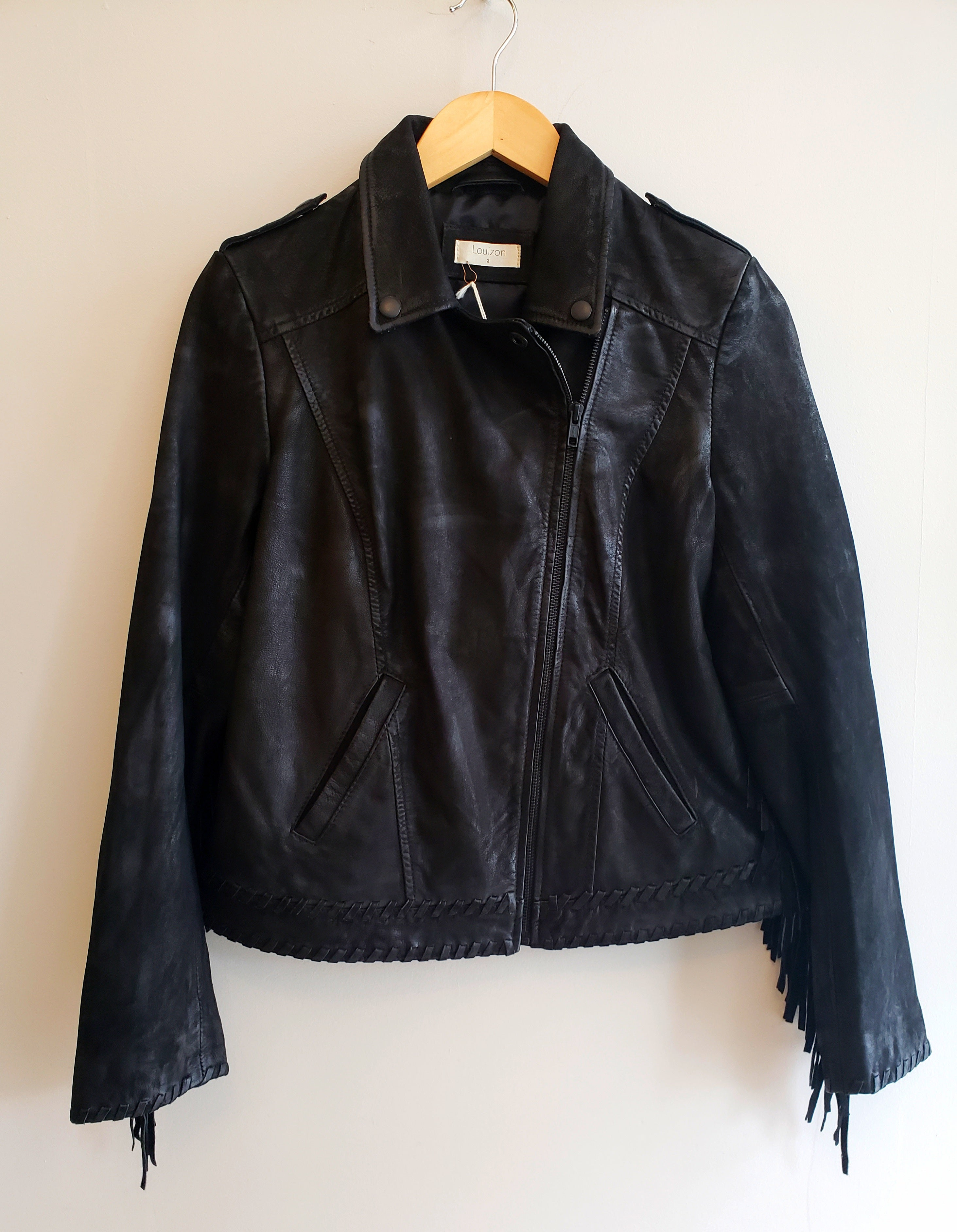 Perfecto Fringe Leather Jacket in Black