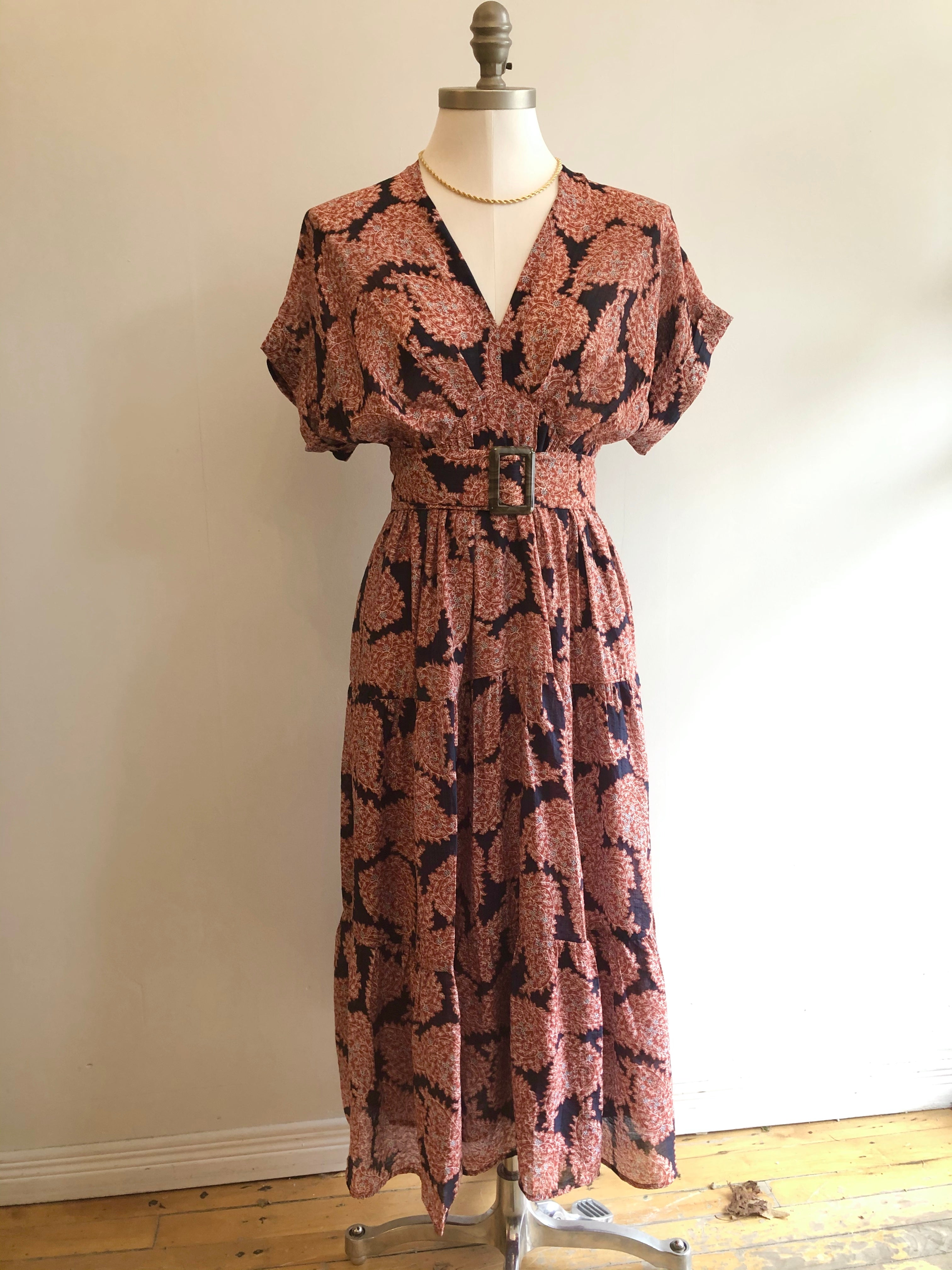 Belted Dress in Brick Print